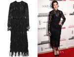 Anne Hathaway's Christopher Kane Appliquéd Tulle Midi Dress