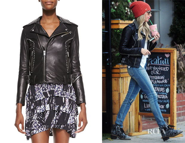 Ashley Tisdale's IRO Wenda Studded Lambskin Moto Jacket