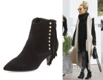 Ashley Tisdale's Saint Laurent Cat Fringe Pointy Toe Booties