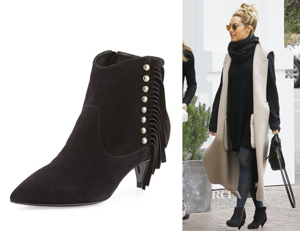 Ashley Tisdale's Saint Laurent 'Cat' Fringe Pointy Toe Bootie