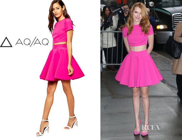 Bella Thorne's AQAQ Even Top with Back Key Hole And AQAQ Fantasy Bonded Scuba Full Skirt copy