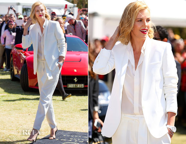 Charlize Theron In Barbara Bui - Australian F1 Grand Prix