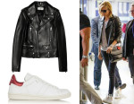 Charlize Theron's Saint Laurent Leather Biker Jacket & Étoile Isabel Marant Bart Sneakers