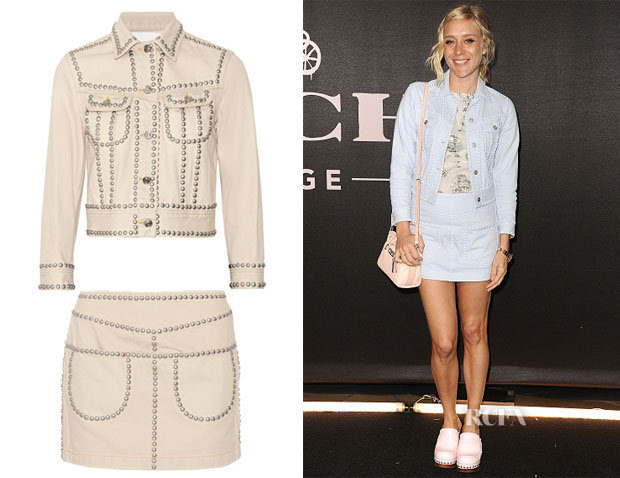 Chloe Sevigny's Coach Studded denim jacket & Mini Skirt