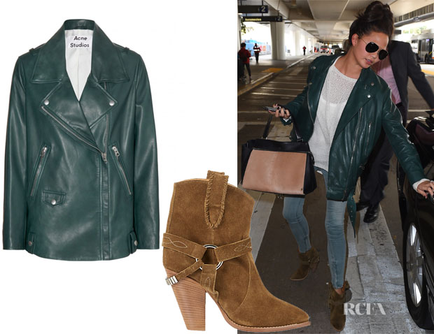 Chrissy Teigen's Acne Studios Swift Light leather jacket & Étoile Isabel Marant Rawson Harness Boots