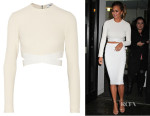 Chrissy Teigen's Elizabeth & James Sedonna Cropped Textured Stretch-Knit Top
