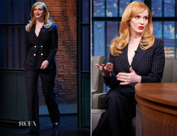 Christina Hendricks In Max Mara - Late Night With Seth Meyers