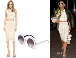 Christina Milian's Ronny Kobo Kimberly Metallic Stripe Crop Top, Molly Metallic Stripe Skirt & Wildfox Malibu Sunglasses