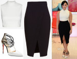 Demi Lovato's Elizabeth and James Aisling Mia Crop Top, Christian Louboutin 'Confusa' Pointy Toe Pumps & Nicholas Crossover Hem Pencil Skirt