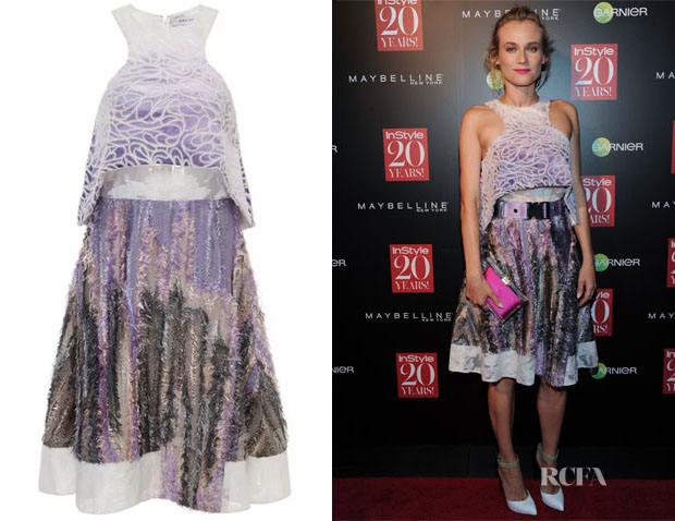 Diane Kruger's Prabal Gurung Silk Felted Bi-Level Dress