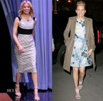 Elizabeth Banks In Roland Mouret & Monique Lhuillier - The Tonight Show Starring Jimmy Fallon & 'Graduate' Launch Event
