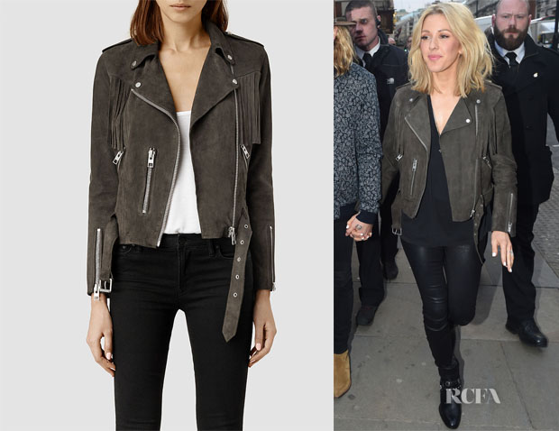 Ellie Goulding AllSaints Tassel Leather Biker Jacket
