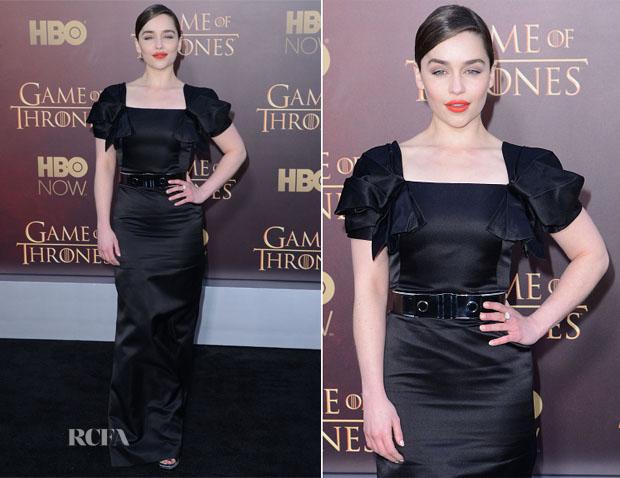 Emilia Clarke In Alexander McQueen -  'Game of Thrones' Season 5 Premiere