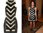 Emily Ratajkowski's Balmain Embellished Leather Mini Dress