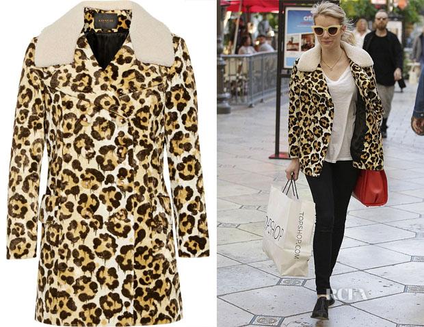 Emma Roberts' Coach Le Fauve shearling-trimmed printed faux fur coat