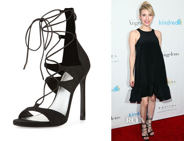 Emma Roberts' Stuart Weitzman LegWrap Lace-Up Sandals