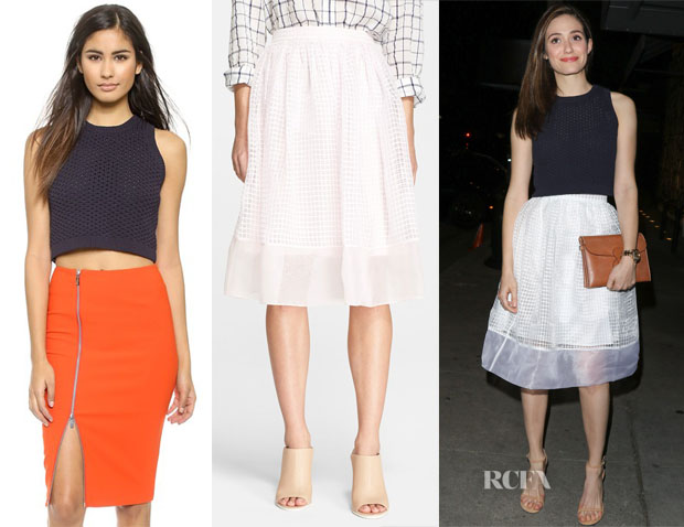 Emmy Rossum's Elizabeth and James Crop Tank Sweater & Elizabeth and James 'Avenue' Chiffon A-Line Skirt