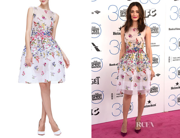 Emmy Rossum's Oscar de la Renta  English Garden Embroidered Organza Dress