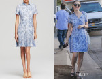 Emmy Rossum's Tory Burch Leaf Print Shirt Dress