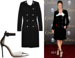 Erin Andrews' Altuzarra Double-breasted crepe coat & Gianvito Rossi Leather, PVC and suede pumps