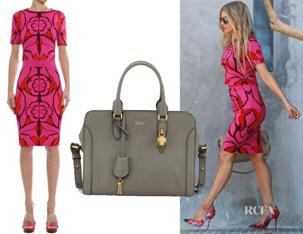 Fergie's Alexander McQueen Flower Jacquard Crop Top, Skirt & Small Skull Padlock Leather Satchel