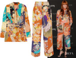 Florence Welch's Gucci Printed Silk Crepe de Chine Shirt & Cropped Trousers