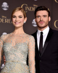 Lily James in Elie Saab Couture and Richard Madden in Dolce & Gabbana