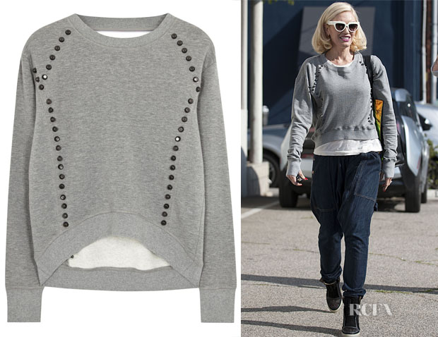 Gwen Stefani Pam & Gela Grey studded cotton blend sweatshirt