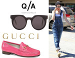 Gwen Stefani's Quay 'Frankie' Sunglasses And Gucci Patent Leather Horsebit Loafers