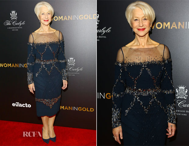 Helen Mirren In Badgley Mischka - 'Woman In Gold' New York Premiere