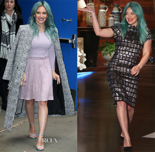 Hilary Duff In Stella & Jamie & Christian Siriano - Good Morning America & The Ellen DeGenres Show