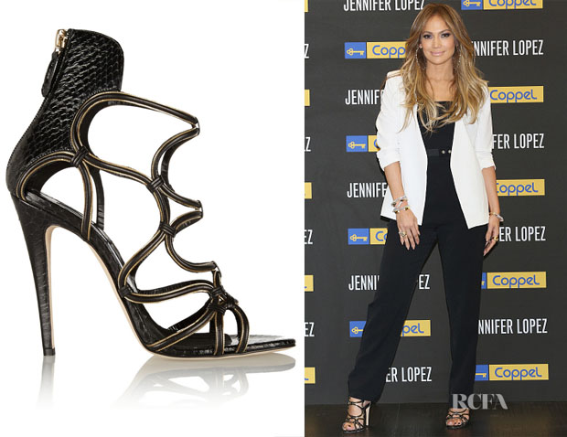 Jennifer Lopez' Brian Atwood Chain-trimmed elaphe and suede sandals