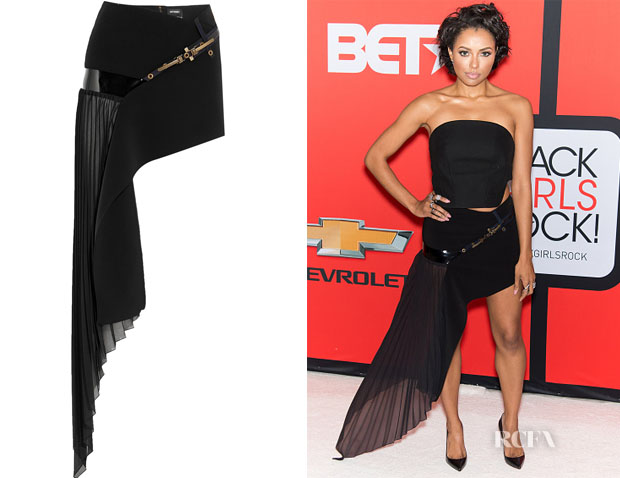 Kat Graham's Anthony Vaccarello Asymmetric Crepe and Chiffon Mini Skirt