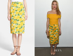 Kate Hudson's Michael Kors Peony Matelassé Pencil Skirt