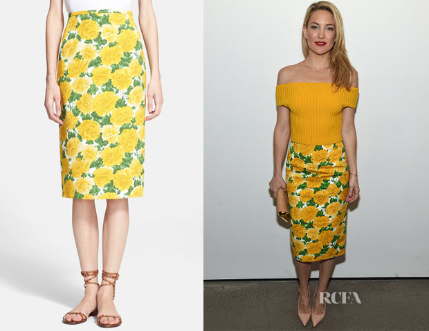 Kate Hudson's Michael Kors 'Peony' Matelassé Pencil Skirt