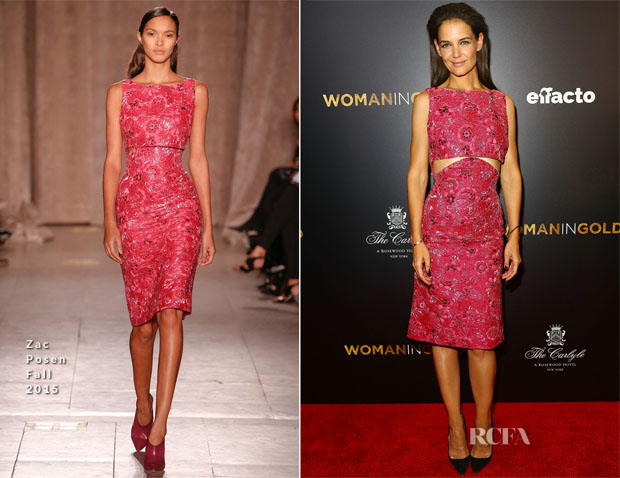 Katie Holmes In Zac Posen - 'Woman In Gold' New York Premiere