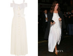 Keira Knightley's Alessandra Rich Off-The-Shoulder Silk Crepe de Chine Dress