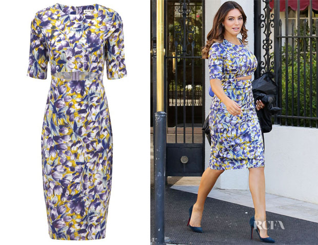 Kelly Brook's Suno  Stretch Silk Cutout-Waist Dress