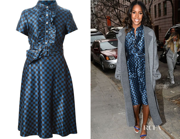 Kelly Rowland's Marc by Marc Jacobs check ruffled dress