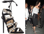 Kendall Jenner's Paul Andrew Tempest Suede & Snakeskin-Embossed Lace-Up Sandals