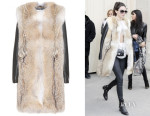 Kendall Jenner's Saint Laurent Fur Coat With Leather Sleeves