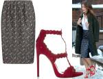 Keri Russell's Victoria Beckham Floral Print Skirt & Alaïa Laser Cut Sandals