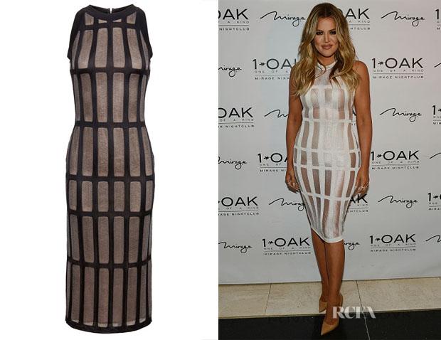 Khloe Kardashian's Balmain Mesh Insert Dress