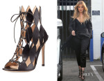 Khloe Kardashian's Gianvito Rossi Diamond Cutout Lace-Up Sandals
