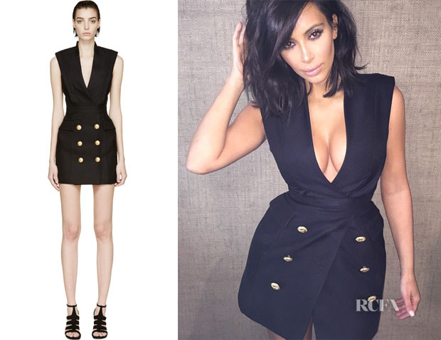 Kim Kardashian's Balmain Sleeveless Blazer Dress