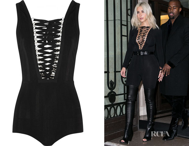 Kim Kardashian's Givenchy Lace-up stretch-jersey bodysuit