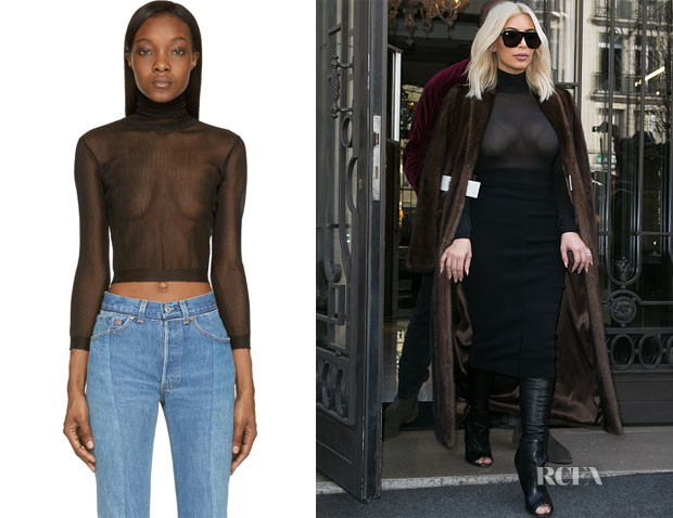 Kim Kardashian's Vetements  Black Sheer Ribbed Turtleneck