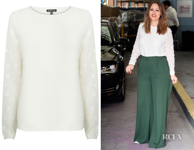 Kimberley Walsh's Warehouse Flower Sleeve Top