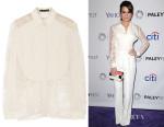 Lea Michele's Elie Saab Lace-Paneled Silk Crepe de Chine Blouse