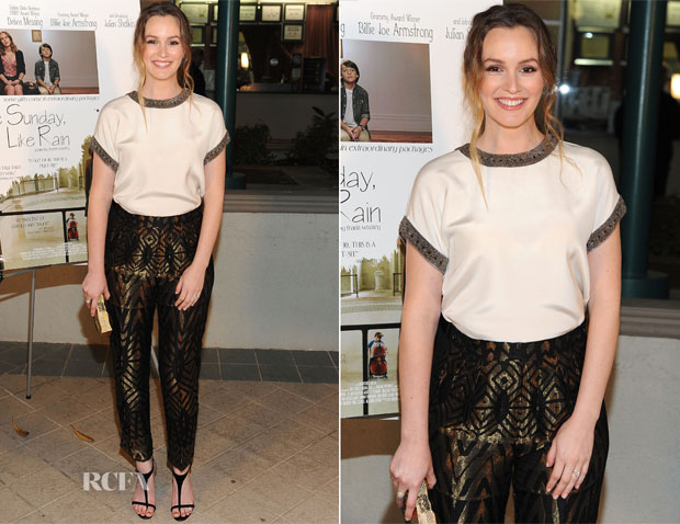 Leighton Meester In Etro - Los Angeles Opening Of 'Like Sunday, Like Rain'